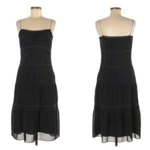 ELIE TAHARI Silk & Wool Black Tiered Maxi Dress